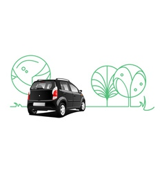 Car and trees vector