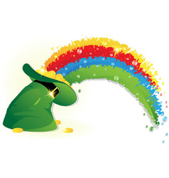 Rainbow and leprechaun hat vector
