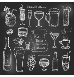 Alcohol and drinks cocktails menu on black board vector
