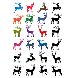 Colored and black outlined deer silhouettes vector