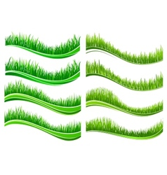 Green colored grass borders vector