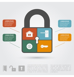 Lock infographic vector