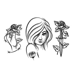 Tattoos beauty girl knife rose and barbed wire vector