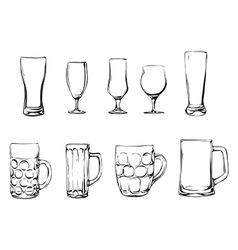 Beer glasses and mugs vector