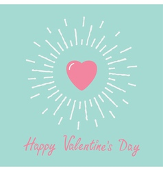 Big pink shining heart word love valentines day vector