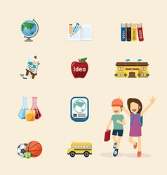 Flat icons set of education design concept vector