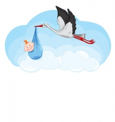 Stork has a baby vector