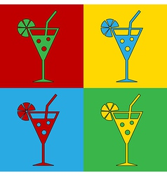 Pop art cocktail glass icons vector