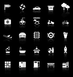 Map place icons with reflect on black background vector