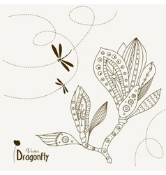 Dragonfly and magnolia vector