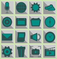 Create function icons on gray button vector