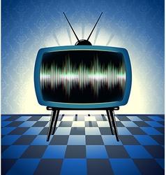 Retro tv receiver in the dark room vector
