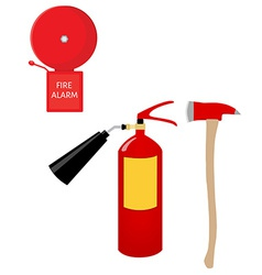Fire extinguisher alarm bell and axe vector