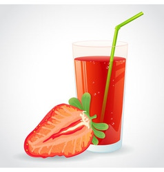 A glass of fresh strawberry juice and strawberry vector