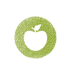 Green apple icon with hand drawn lines texture vector