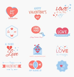 Valentine badges and labels vector