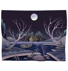 Pond in the night vector