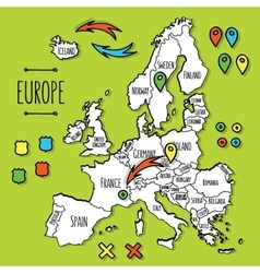 Cartoon style hand drawn travel map of europe with vector