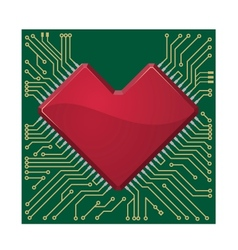 Stylized red heart shape on a circuit board vector