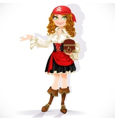 Cute pirate girl with chest vector