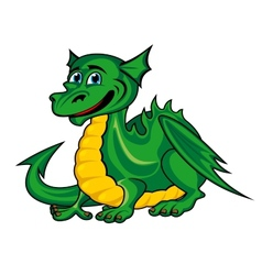 Fantasy green dragon kid vector