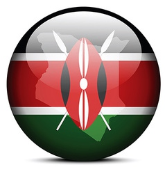 Map on flag button of kenya vector