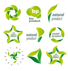 Set of logos for organic natural products vector