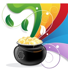 Rainbow and pot of gold vector