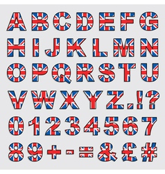 Uk flag alphabet vector