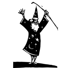 Wizard and staff vector