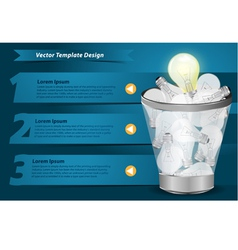 Creative template with light bulb in the trash vector