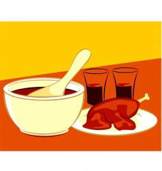 Chicken and soup vector