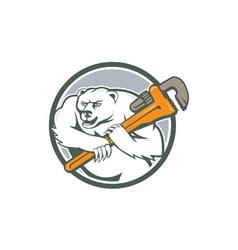 Polar bear plumber monkey wrench circle vector