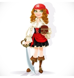 Cute pirate girl with cutlass and chest vector