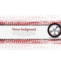 Wheel and grunge tire track abstract vector