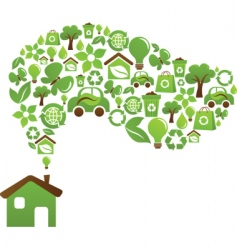 Green house icons vector