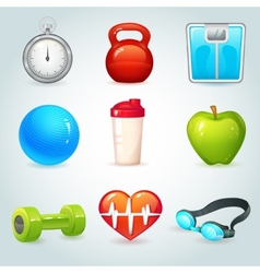 Sport and fitness icons vector