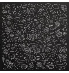 Nature spring hand drawn symbols and vector