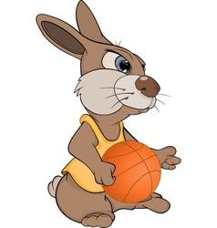 Rabbit the basketball player cartoon vector