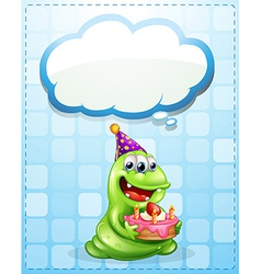 A green monster with a cake thinking vector