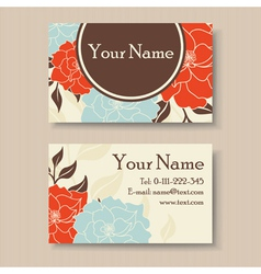 Visit card with flowers vector
