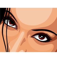 Beautiful brown eyes woman vector