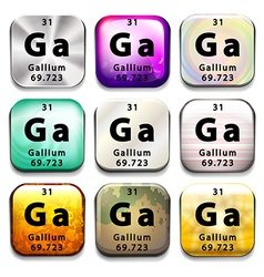 Buttons showing gallium and its abbreviation vector