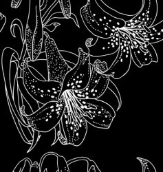 Seamless wallpaper with lily flowers vector