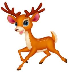 Cute deer cartoon running vector
