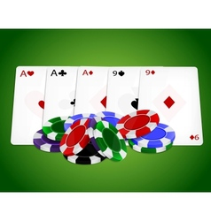 Pocker combinationfull house with chips vector