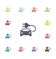 Electro car flat icons set vector
