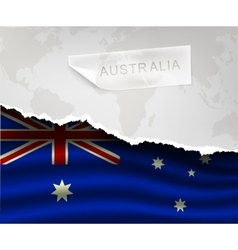 Paper with hole and shadows australia flag vector