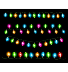 Strings of holiday lights on black background vector