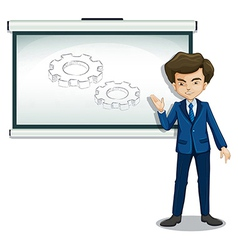 A man explaining the image in the whiteboard vector